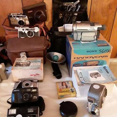 Vintage cameras & accessories. Argus, Kodac,Pentax, Keystone, Sony, Panasonic
