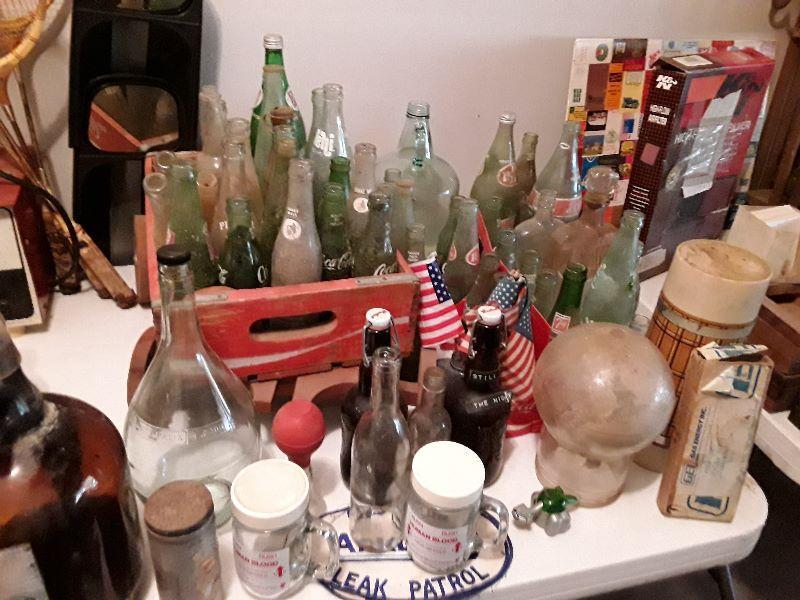 Vintage & Antique Bottles. Coca-Cola, Pepsi, cobalt, amber medicine blts. Mini cream bottles, pyrex &more