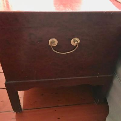Mahogany box on legs $275 20 X 18 X 26