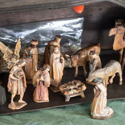 Nativity set with a manger.