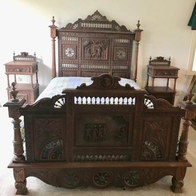Antique Brittany, France 19th Century Double Bed $1100 This style of hand crafted carved furniture is unique to the northwestern province...