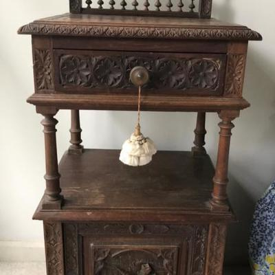 Antique Brittany, France 19th Century Nightstand $250 This style of hand crafted carved furniture is unique to the northwestern province...