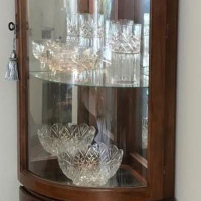 Corner display cabinet with interior lights