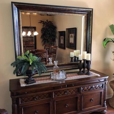 Large Wood-Framed Beveled Mirror - $250