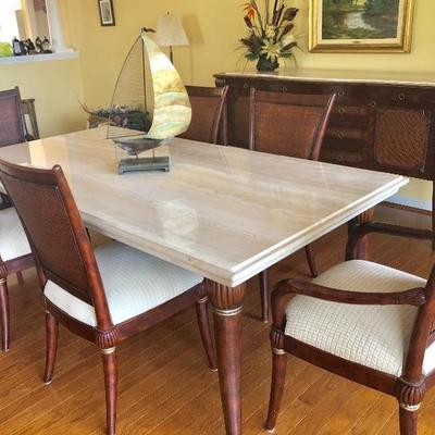 Formal Dining Table with Travertine Top, 4 Woven-back Side Chairs, 2 Woven-back Arm Chairs, (44