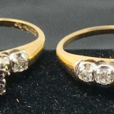!4k gold and diamond engagement and wedding ring set