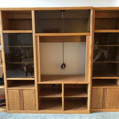 Oak Entertainment Center with Smoked Glass Doors, Cabinets & Shelves   (66