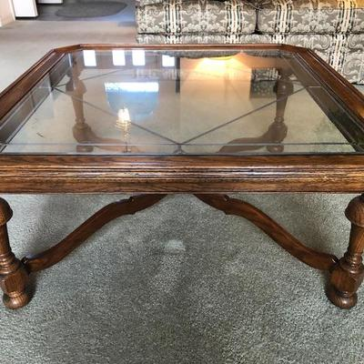 Matching Ethan Allen  Glass-top Square Coffee Table with Lead Pattern in Glass -(38