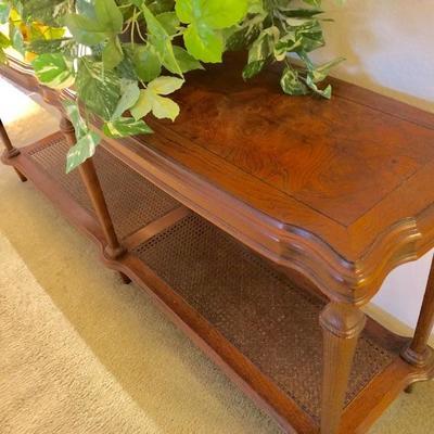 2-Shelf Wood Entry/Sofa Table - Bottom Shelf is Woven Cane/Wicker -                                 (61