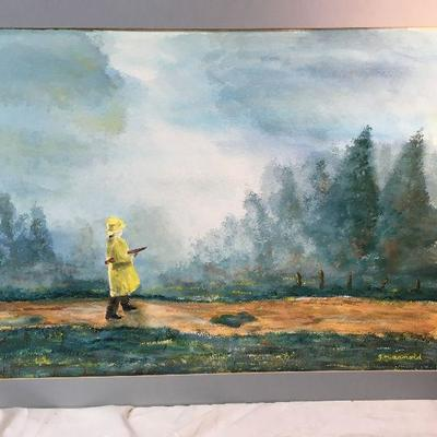 Watercolor by Dr. G Arnold - Man Walking in the Rain CW1010 New Orleans Artist https://www.ebay.com/itm/113712155386