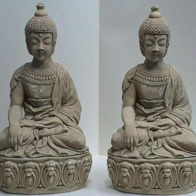 Two Buddha Statues in Plaster Measures 20 in Tall by 10 in Wide LA6063 https://www.ebay.com/itm/123728060596