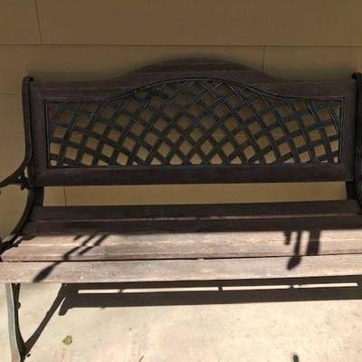 Metal and Wood Bench.