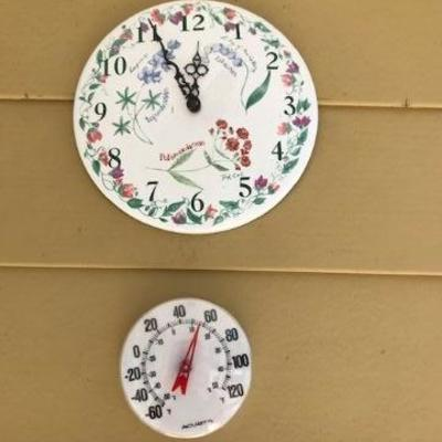 Outdoor Clock & Thermometer.