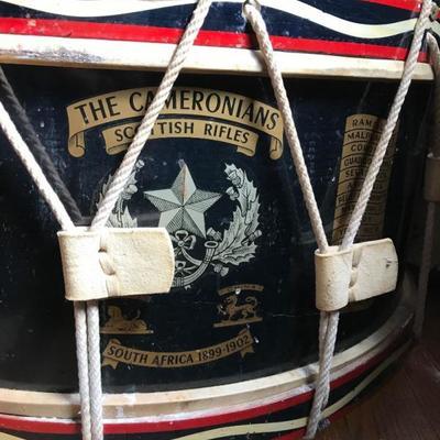 Antique Victorian Era THE CAMERONIANS SCOTTISH RIFLES Boer War Drum glass top table
