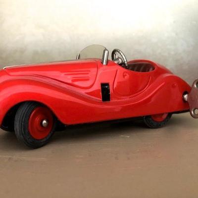 Rare Schuco Examico 4001 Windup Metal Car Red Original Vintage West Germany. Excellent Condition