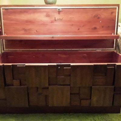 RARE HARD TO FIND BRUTALIST CUBIST HOPE CHEST BY LANE 1970S WALNUT MOSAIC LINED WITH CEDAR! Amazingly Beautiful piece for mcm lovers!