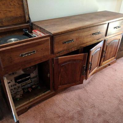 1970s stereo equipment:  SONY REEL TO REEL, DUEL TURNTABLE, CUSTOM MADE STEREO CABINET, PIONEER SPEAKERS, TUNERS, RECORDS, REELS,...
