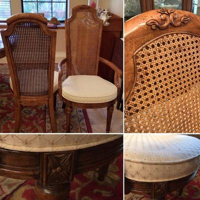 6 dining chairs with caned backs. 2 captain's chairs and 4 normal chairs. Gorgeous. Captains chairs @ $45 each. Normal chairs @ $35 each.