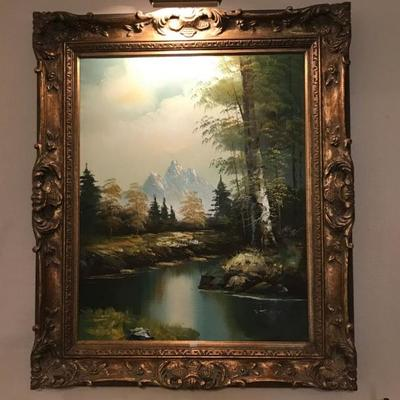 Large framed oil painting $175
