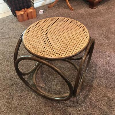 Retro caned and wood side table. $40