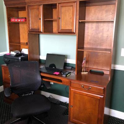 Cherry stain finish desk with hutch, shelves, cupboards, locking file, pullout keyboard (76