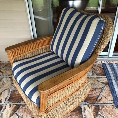 --- Gorgeous woven jute & bamboo w/blue stripe cushions lanai set 	Including: (10% discount on entire set purchase) 	3-cushion sofa (76