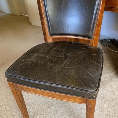 Henredon high end side chair/desk chair with leather seat and back, signed