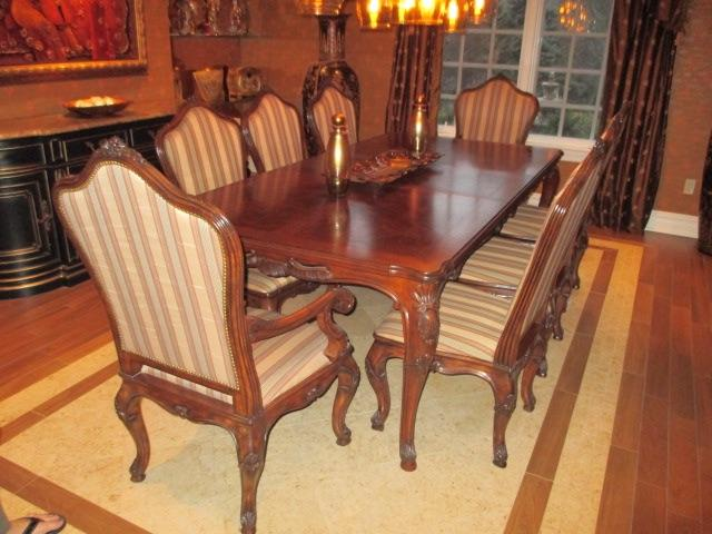Henredon Dining Room Suite Complete with Marble Top Buffet 10 Chairs