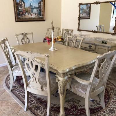 Stunning gray/white distressed dining table w/7 chairs - $545