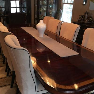 Beautiful Dining Table which can be banquet size when needed. Mitchell Gold Chairs