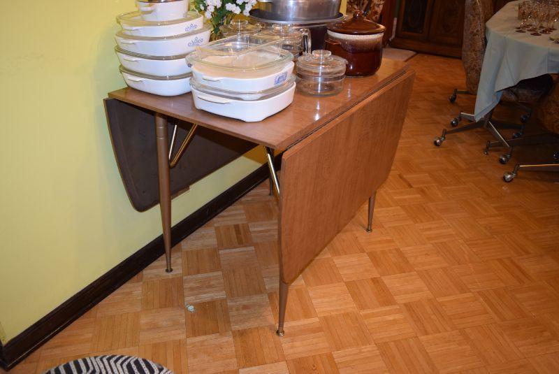 Vintage Drop-Leaf Table & Corningware
