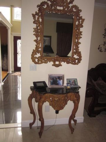 Carved Entry Mirror With Marble top Table