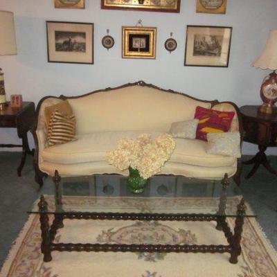 Louis XV Bergere Arm Chairs Pair Carved Classical Marble Top Tables Classic French Victorian Sofa