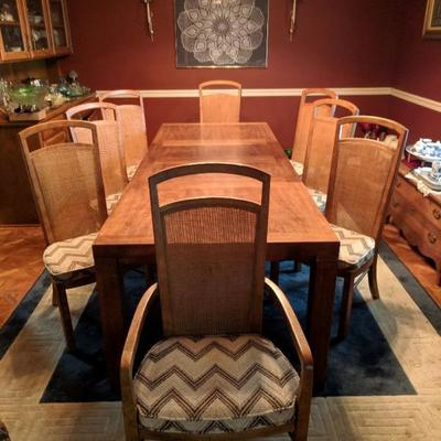 Excellent Drexel MCM 8 CANE BACK CHAIR DINING ROOM TABLE Woodbriar