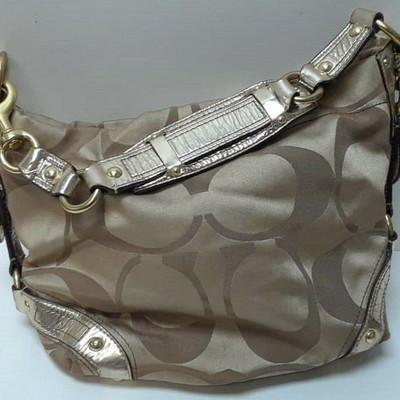 Coach Purse W/Gold Leather Trim Style No.13008 Khaki Sateen Canvas Hobo LA6072 https://www.ebay.com/itm/123791661298