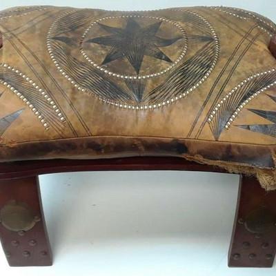Vintage Egyptian Camel Foot Stool Ottoman Saddle Leather Wood LA6075 https://www.ebay.com/itm/113771189410