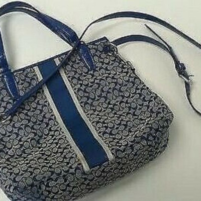 Blue Stripe Coach Purse STYLE No. M1381-F27024 LA6110 https://www.ebay.com/itm/113771190090