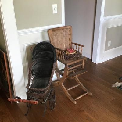 Vintage carriage and high chair