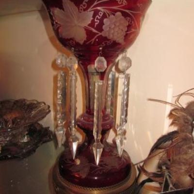 Lustre, Cranberry, Gilt Enamel White & Red Flower Swags with Drop Prisms
