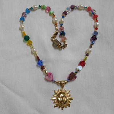 14 k Sun and Beads - Beautiful Necklace