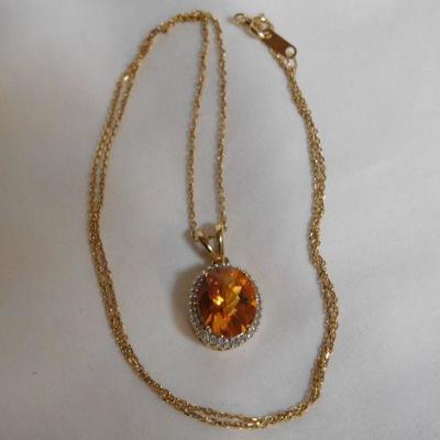 10 k Topaz and Diamond Necklace