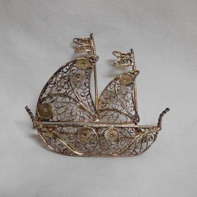 Silver Sailboat Brooch