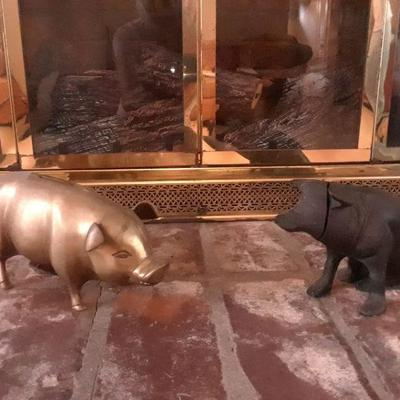 Vintage brass piggy bank, cast iron pig bank