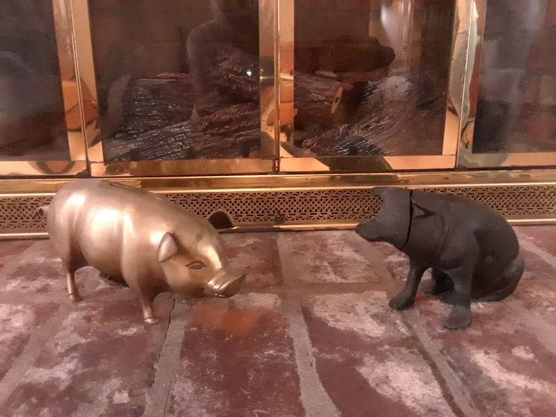 Vintage brass piggy bank, cast iron pig bank