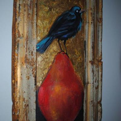 Painting on metal by Sandra Ercikson Wright