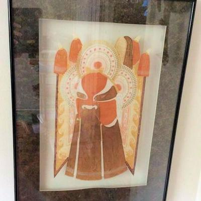 APT003 Framed Oriental Paper Cutout Picture
