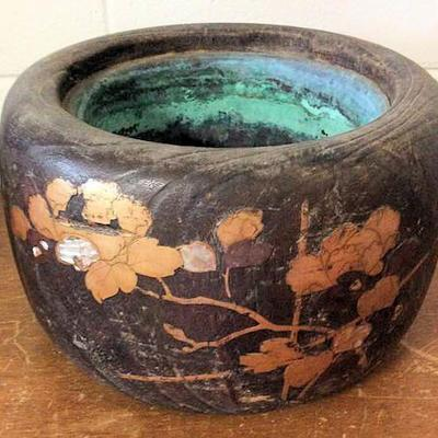 APT015 Wooden and Copper Japanese Vessel