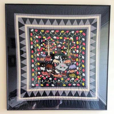 APT001 Framed Embroidered Quilt Wall Hanging