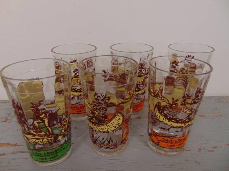 6 Davy Crocket Glasses