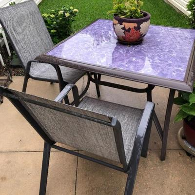 Glass top Table w/2 Sling Chairs